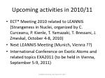 upcoming activities in 2010 11