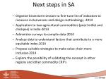 next steps in sa