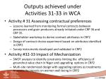 outputs achieved under activities 31 33 in wca