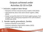 outputs achieved under activities 32 33 in esa