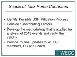 scope of task force continued