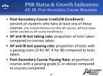 psr status growth indicators ap ib post secondary course measures