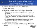 status growth indicators catch up keep up growth