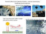 particles affect solar radiation directly and also indirectly by modifying cloud properties