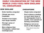 early colonization of the new world 1492 1650 new england vs chesapeake