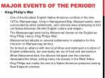 major events of the period1