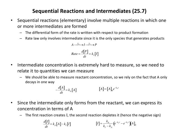 sequential reactions and intermediates 25 7 n.