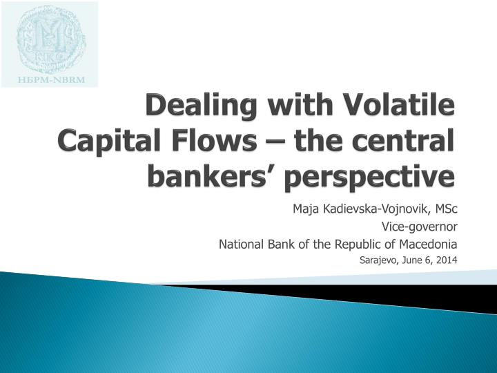 dealing with v olatile capital flows the central bankers perspective n.