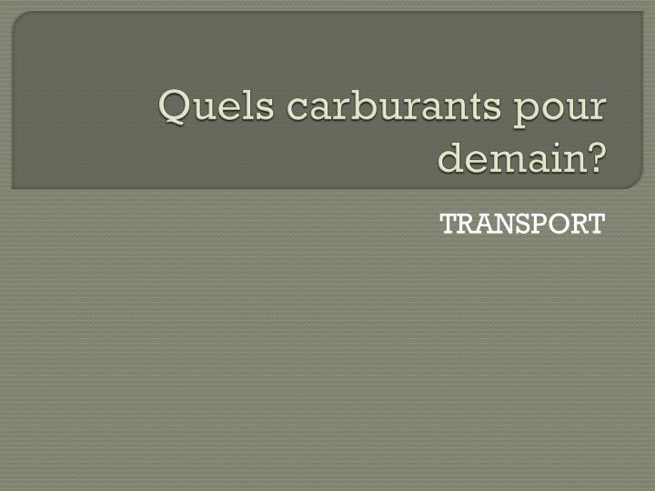 quels carburants pour demain n.