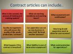 contract articles can include
