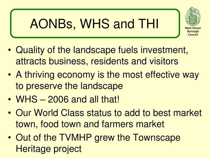 AONBs, WHS and THI