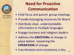 need for proactive communication