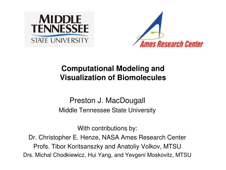 computational modeling and visualization of biomolecules n.