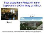 inter disciplinary research in the department of chemistry at mtsu