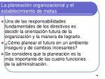 la planeaci n organizacional y el establecimiento de metas