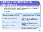objetivos operacionales no operacionales