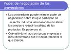 poder de negociaci n de los proveedores
