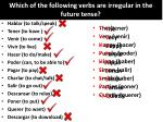 which of the following verbs are irregular in the future tense