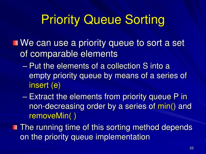 Priority Queue Sorting