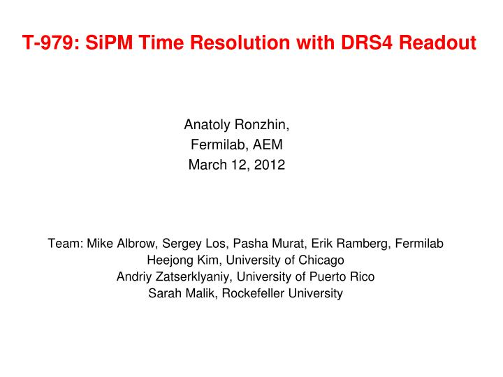 t 979 sipm time resolution with drs4 readout n.