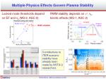 multiple physics effects govern plasma stability1
