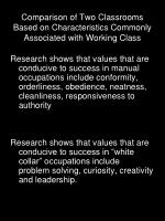 comparison of two classrooms based on characteristics commonly associated with working class