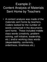 example 2 content analysis of materials sent home by teachers