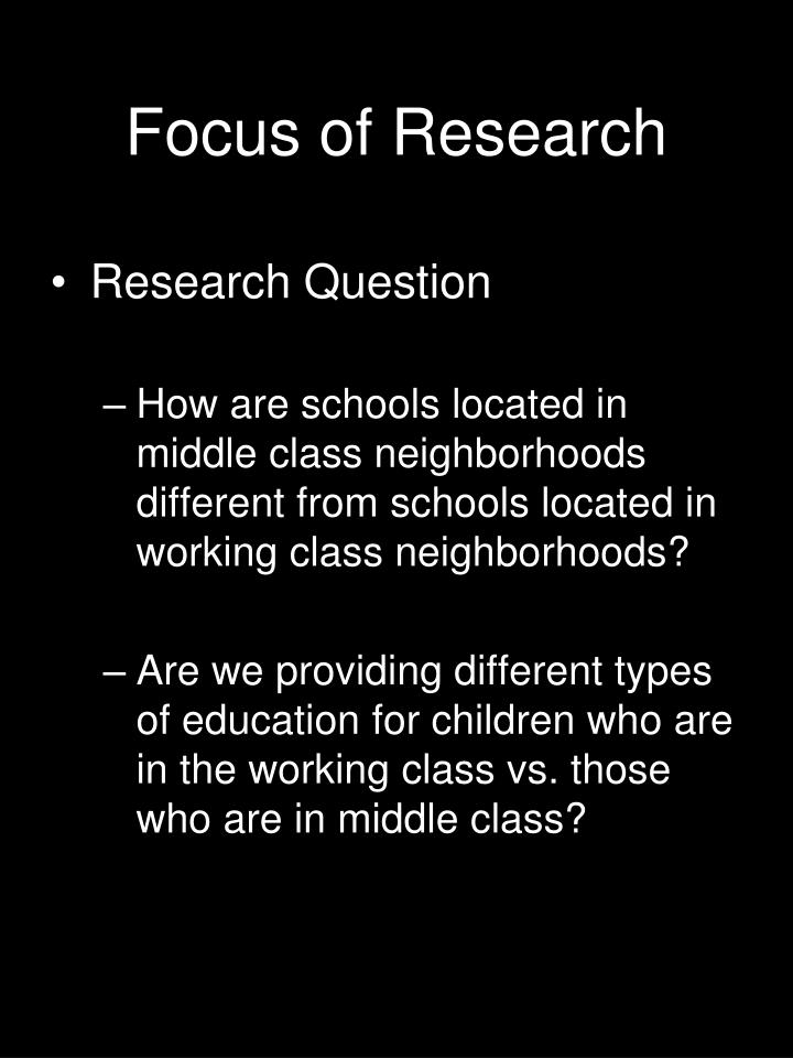 focus of research n.