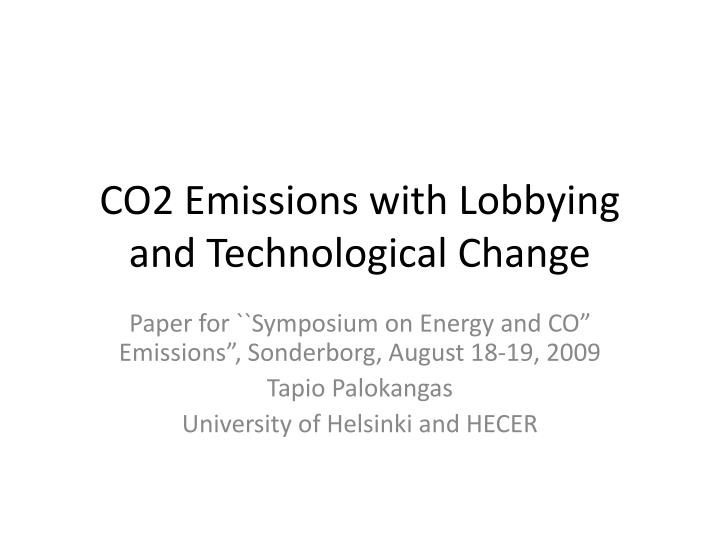 co2 emissions with lobbying and technological change n.