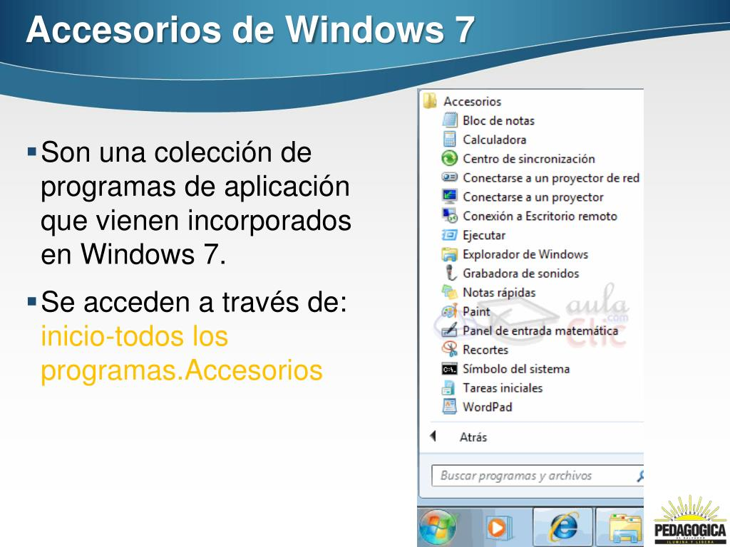 Ppt Accesorios De Windows 7 Powerpoint Presentation Free Download Id 2231873