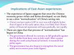 implications of east asian experiences