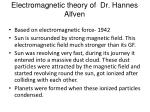 electromagnetic theory of dr hannes alfven