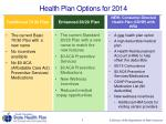 health plan options for 2014