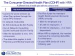 the consumer directed health plan cdhp with hra a different kind of health plan with two components
