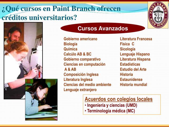 ¿Qué cursos en Paint Branch ofrecen créditos universitarios
