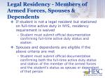 legal residency members of armed forces spouses dependents1