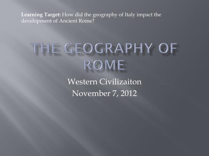 the geography of rome n.