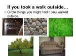 if you took a walk outside