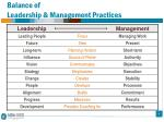 balance of leadership management practices