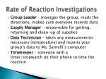 rate of reaction investigations