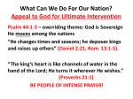 what can we do for our nation appeal to god for ultimate intervention