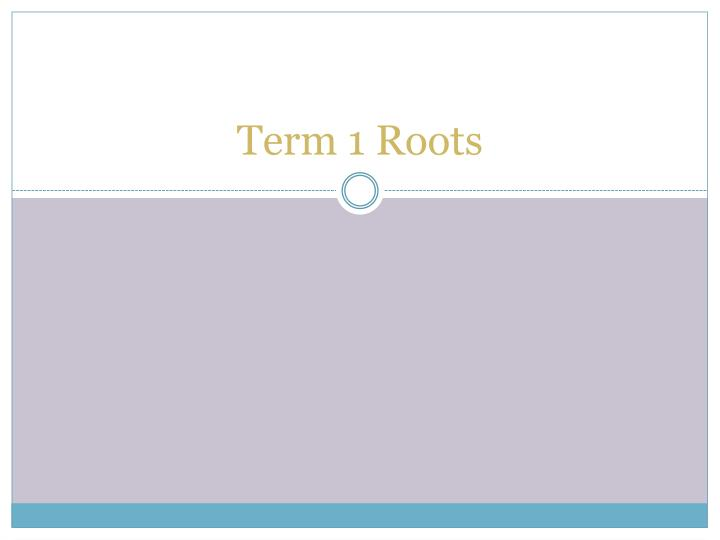 term 1 roots n.