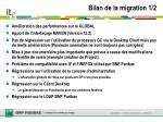 bilan de la migration 1 2