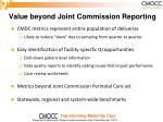 value beyond joint commission reporting