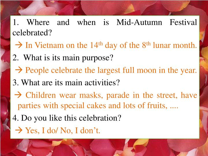 1. Where and when is Mid-Autumn Festival celebrated?