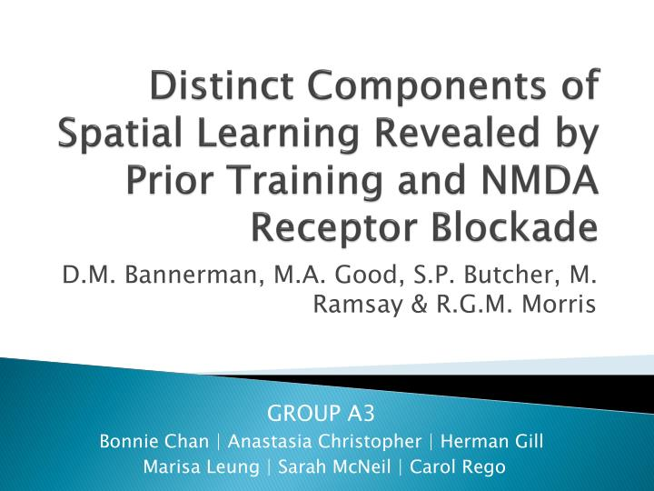 distinct components of spatial learning revealed by prior training and nmda receptor blockade n.
