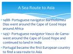 a sea route to asia