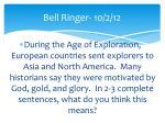 bell ringer 10 2 12