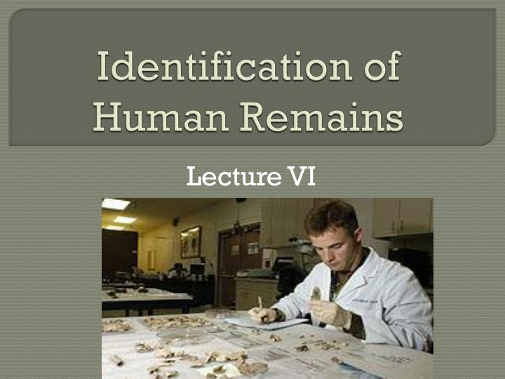identification of human remains n.