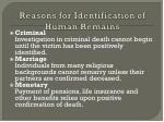 reasons for identification of human remains